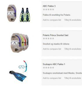 ABC snorkelsæt og udstyr